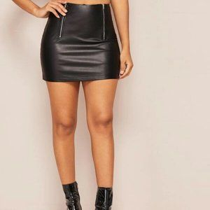 SHEIN Faux Leather Zip-Up Sexy Mini Skirt Black
